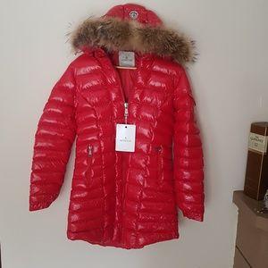 Red Color Long Moncler Coat